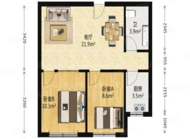 格林英郡2室2厅1卫72.64m²